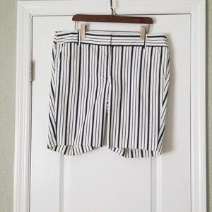 Ann taylor loft striped bermuda length shorts 16